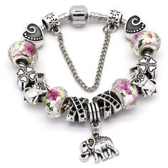 Pandora Style Charm Bracelet With Animals, Clover, Hearts and Glass Beads