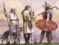 This image shows how celtic warriors looked. The Denann arrived in Ireland ahead of the celtic wave, but could have looked something like this. They brought the new skill of metalworking with iron, which was far superior to the bronze and copper weapons and tools used in Ireland at that time.