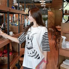 Rabbit Print Stripe-Sleeve T-Shirt from #YesStyle <3 CLICK YesStyle.com