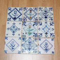 "Nine Dutch Delft 17th century floral ""stamp"" tiles | eBay"