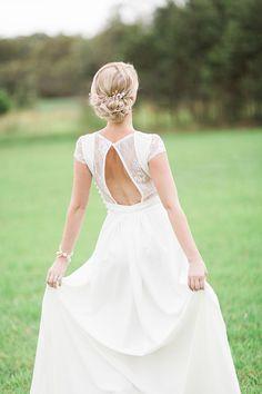 Stolen Kisses silk crepe ivory wedding gown by JenniferGoBridal