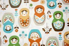 Matryoshka Print Japanese Fabric Natural Colors one yard. $14.50, via Etsy.