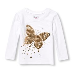 s Toddler Long Sleeve Metallic Butterfly Graphic Tee - White T-Shirt - The Children's Place