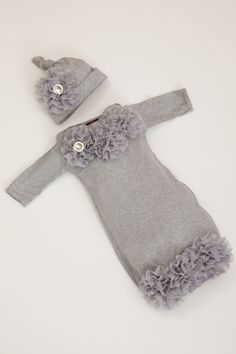 Infant Baby Layette Grey Cotton Baby Gown with Grey Chiffon Flowers and Rhinestones   OMG