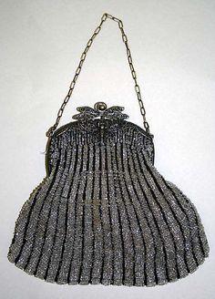 American or European Evening bag 1900-1925 Silk, metal, glass Met Museum 1978.109.7 Love the clasp!