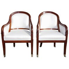 Pair of French Mahogany Bergere Chairs, Circa 1820 | From a unique collection of antique and modern bergere chairs at http://www.1stdibs.com/furniture/seating/bergere-chairs/