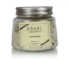 KHADI NAGCHAMPA GARDINIA WITH NEEM LEAVES NAGCHAMPA BATH SALT HAS A REFRESHING, UPLIFTING SCENT AND CAN BE USED WITH ALL SKIN TYPES. IT IS ANTI-FUNGAL, ANTI-INFLAMMATORY, AND ANTISEPTIC. USE IT TO TREAT BURNS AND ECZEMA. #ReadyForShop #BathSalt