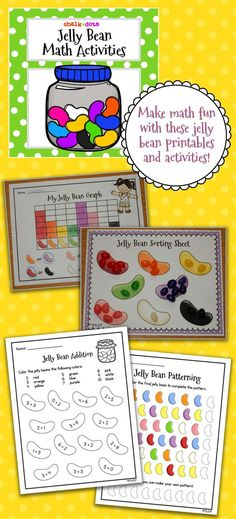 Jelly Bean Math - Have your children practice their math skills with these fun jelly bean math printables! This is a great packet to use during the week of Easter, but it can be used anytime during the spring season as well.