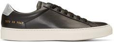 Common Projects: Black & Silver Achilles Retro Low Sneakers | SSENSE