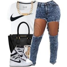 June 6 2k15 by polyvoreitems5 on Polyvore featuring polyvore, fashion, style, NIKE, Michael Kors and House of Harlow 1960