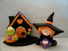 Witch Halloween Cottage Owls Figurine by countrycupboardclay