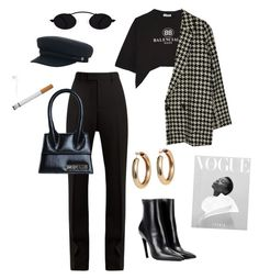 """french it girl"" by jadoreladior ❤ liked on Polyvore featuring Balenciaga, Brixton and Jacquemus"