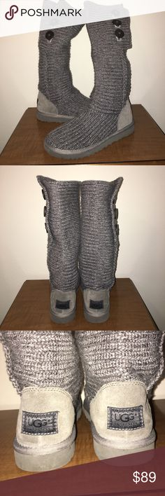 UGG Australia Gray Sweater Classic Cardy Boots 8 This is a pair of UGG Australia Gray Sweater Classic Cardy Boots in a sz 8, gently used condition! I ship fast! Happy poshing friends! UGG Shoes Winter & Rain Boots