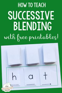 If you're looking for blending sounds activities, try successive blending. It works great for beginning readers in kindergarten and first grade. Grab the free printable mat and cards! resources How to teach blending sounds - The Measured Mom Teaching Phonics, Teaching Reading, Kindergarten Phonics, How To Teach Phonics, Guided Reading, English Kindergarten, Kindergarten Goals, Teaching Tips, Reading Comprehension