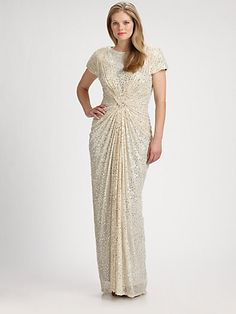 Tadashi Shoji - elegant plus size dress with gorgeous draping & beading