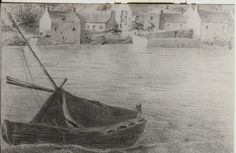 Drawing of a Bag-Kerhor with tent at the port  of Le  Conquet, (détail), by Le Guerranic, c.1850