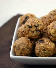 No Bake Energy Balls - all types of nuts, chocolate, peanut butter, dried fruits like cranberries or raisins + oats