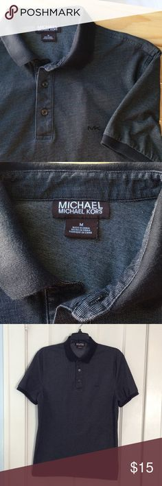 Michael Kors Polo Shirt! Men's medium Midnight blue/almost black with a white thread throughout. Worn 1 time. Very clean, like new! Shirts Polos