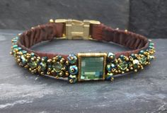Items similar to Green and Bronze Luxury Dog Collar Handmade and Beaded in Opulent Renaissance Style on Etsy Luxury Dog Collars, Pet Collars, Renaissance Fashion, Pet Products, Dog Stuff, Turquoise Bracelet, Labrador, Glass Beads, Beaded Bracelets