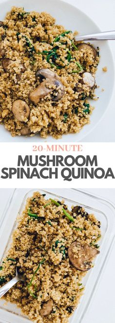 You will fall in love with this simple Mushroom Spinach Quinoa recipe! Perfect for a healthy lunch, served as a side dish at the dinner table, or as a meal prep with your favorite protein. Cooked and ready to serve in under 20 minutes, it doesn't get much Vegan Meal Prep, Lunch Meal Prep, Meal Prep Bowls, Easy Meal Prep, Quinoa Lunch Recipes, Vegetarian Recipes, Healthy Recipes, Meals With Quinoa, Healthy Lunch Meals