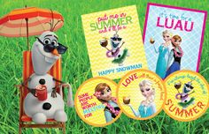Etsy の Frozen Summer Luau Party Printables by PartyByAPrincess