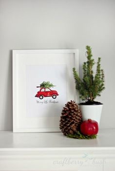 This adorable red car with tree tied to the top free printable is available for downloads. It says it is only for a day but it was still live when I tried it. Download and print out really cute art!