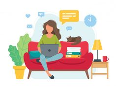 Home office concept, woman working from home sitting on a sofa, student or freelancer. Cute vector illustration in flat style - Buy this stock vector and explore similar vectors at Adobe Stock Flat Design Illustration, Simple Illustration, Amazing Drawings, Colorful Drawings, Home Sitting, Vector Character, Cute Vector, Presentation Pictures, Pop Art Wallpaper
