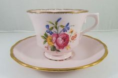 Vintage ROYAL VALE BABY PINK and GOLD Bone China Teacup and Saucer 1940 England