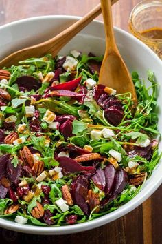 This beet salad recipe tastes fancy but is SO EASY to make. A show-stopping and flavorful salad that is impressive for entertaining or a wonderful meal in. This beet salad with arugula is gluten free, vegetarian and so good for you! Make-ahead tip: pre-cook beets, cover and refrigerate until ready to use.