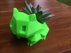 A very tiny 3D printed Bulbasuar planter. Low Poly Bulbasaur Planter by Hitsman - Thingiverse