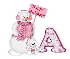 Alfabeto tintineante Navidad rosa.