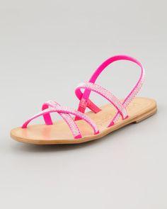 Zana Flat Crystal Sandal by Pedro Garcia at Neiman Marcus.