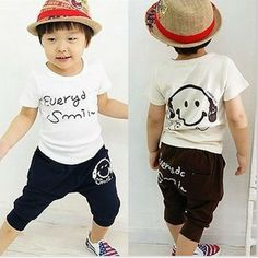 Boys Girls Clothes Summer New Fashion 5pcs/Set T-shirt+Pants For Kids Clothes 9808