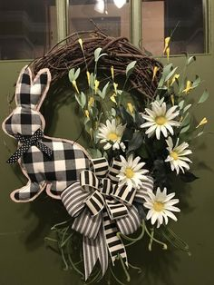 black and white plaid bow & bunny with Daisies Elegant All Season Grapevine Wreath for Door. Wreaths wreaths for front door farmhouse by DesignsbyDebbyOhio on Etsy Greenery Wreath, Grapevine Wreath, Easter Wreaths, Holiday Wreaths, Holiday Decorations, Holiday Ideas, Holiday Gifts, Etsy Wreaths, Indoor Wreath