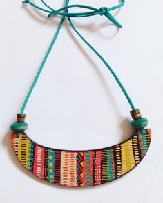 Colorful necklace Wooden Jewelry Aztec Print Dangle Earrings Charm Necklace Fairytale gift Birthday Gift for women Beauty gift Gift for Her Terracotta Jewellery Making, Terracotta Jewellery Designs, Handmade Jewelry Designs, Handmade Necklaces, Unique Jewelry, Wood Earrings, Dangle Earrings, Teracotta Jewellery, Unique Gifts For Girls