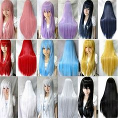 女性ストレートヘアかつら安い耐熱合成かつら赤グレーピンクパープルグリーンブルーブロンドかつら長い黒いかつらコスプレ