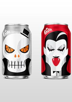 Fanta gets ghoulish with Halloween-themed packaging by Noma Bar Clever Packaging, Food Packaging Design, Beverage Packaging, Brand Packaging, Packaging Ideas, Noma Bar, Pop Up Shops, Halloween Themes, Brewery