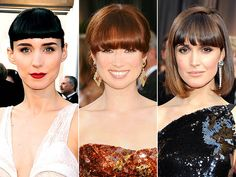 HEAVY BANGS: Rooney Mara, Ellie Kemper and Rose Byrne wore heavy, eyebrow-skimming fringe with sleek bobs or buns to complement their chic gowns. See more Oscar Trends: http://bit.ly/yC7n1o