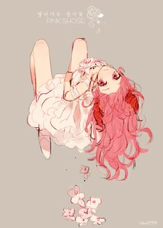 Anime girl with pink hair and eyes. I love her dress !!!!