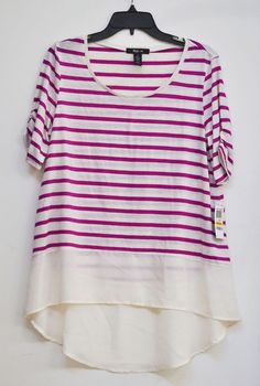 NWT Style&Co. Women Blouse  High Low Fuchsia Cream Short Sleeve Striped size M #Styleco #Blouse #Casual