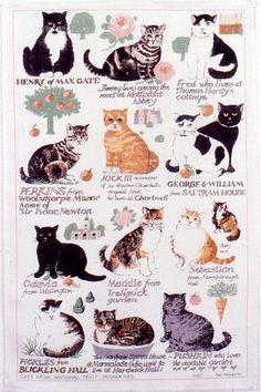 "Tea towel of ""cats from National Trust Properties"" made of Irish linen."