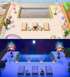 My take on the infinity pool! Animal Crossing 3ds, Animal Crossing Qr Codes Clothes, Animal Crossing Pocket Camp, Animal Games, My Animal, Horizon Pools, Motif Jungle, Infinity Pool, Ac New Leaf