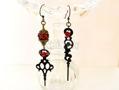 Steampunk Red and Black Earrings Clock Hands by LaTaniaJewelry