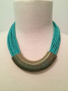 Turquoise Seed Beaded Statement Necklace by BellaHarperBoutique