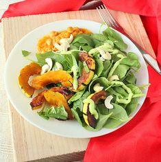 Maple glazed Delicata squash, cashews, baby spinach salad with creamy wasabi dressing. vegan glutenfree - Vegan Richa