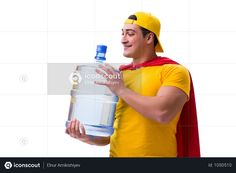 Man Delivering Water Bottle Isolated On White Photo