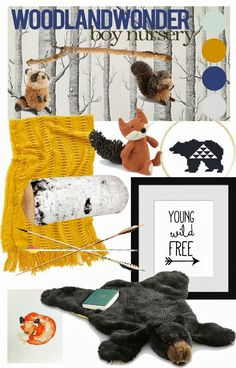 Love this nursery or kids room theme - woodland creatures and comfy throws!
