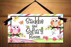 Sisters or Twin Girls Owls Love Birdies and Stripes Door Sign Nature Forest Bedroom and Baby Nursery Kids Bedroom Wall Art DS0109 >>> See this great product.