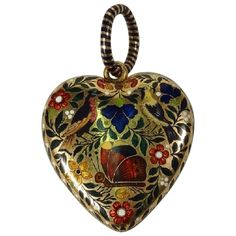 French Napoleonic Era Enamel Gold Heart Locket. Polychrome Enameled 20 kt Gold Heart Locket, Gabriel-Raoul Morel, Paris, France made circa 1815.