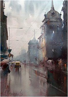 Dusan Djukaric   Belgrade rain, watercolor, 38x56 cm